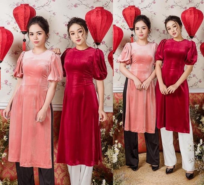 Áo dài cách tân vạt ngắn tay ngắn chất liệu vải nhung